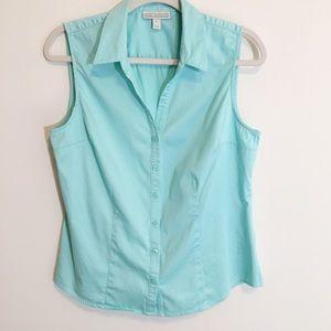 Dana Bachman sleeveless button front blouse L